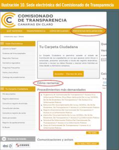 Ilustración 10. Sede electrónica del Comisionado de Transparencia
