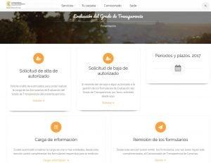 Pantalla de la primera página aplicación telematica del Indice de Transparencia de Canarias( ITCanarias)